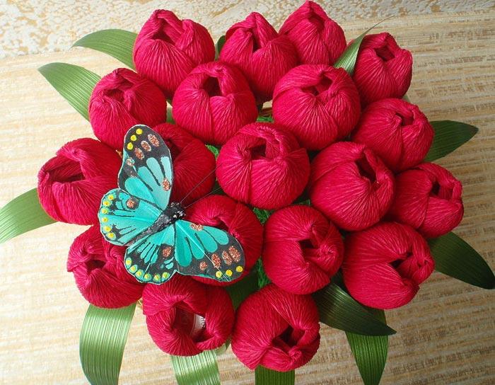 Цветы из гафрированой бумаги