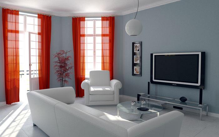 ЖК телевизор для удобного просмотра лучше размещать напротив дивана