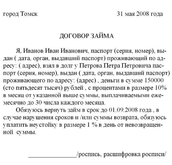 Пример текста долговой расписки