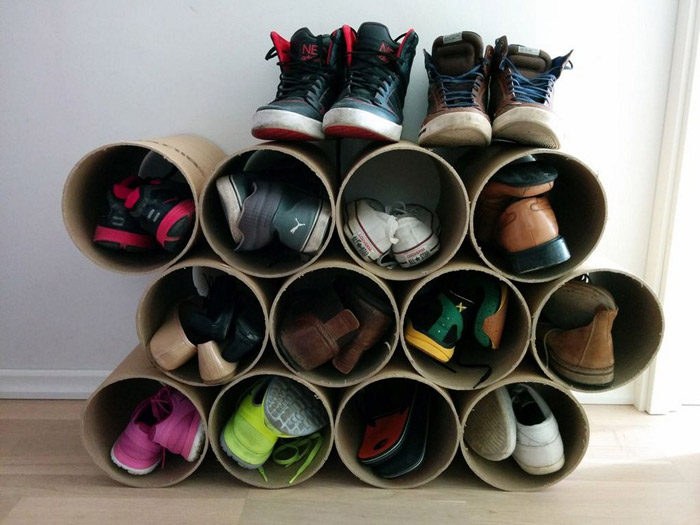 Обувная полка из картона