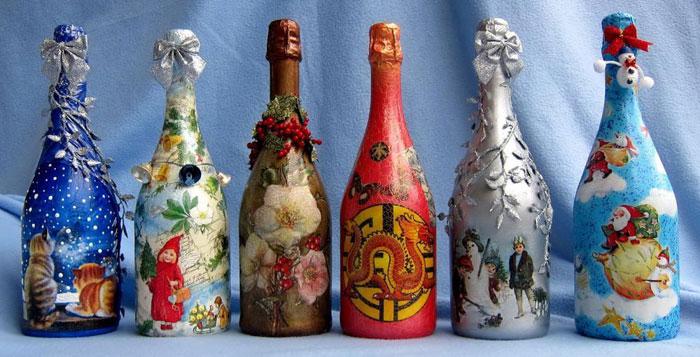 Бутылки шампанского, украшенные в технике декупаж