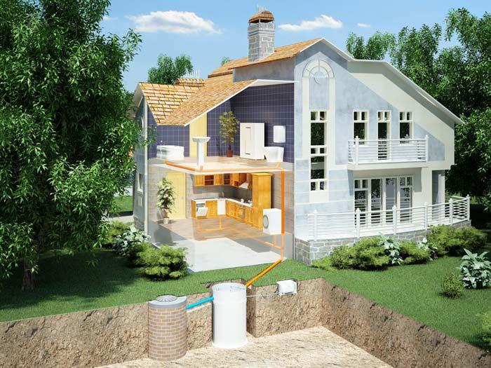 Схема обустройства системы канализации в доме