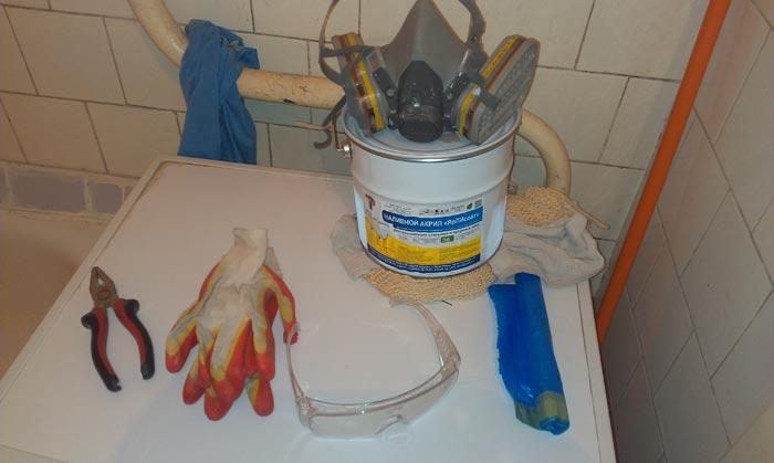 Материалы, необходимые для реставрации ванны