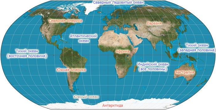 Океаны на карте мира