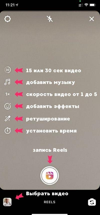 Настройки Instagram Reels